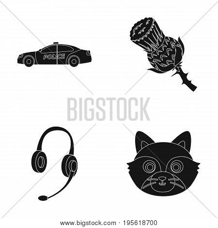 police, Translation and other  icon in black style.travel, animal icons in set collection.
