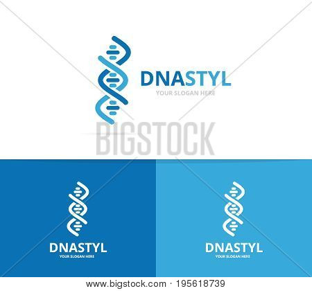 Vector of dna and chromosome logo combination. Gene and helix symbol or icon. Unique spiral and molecular logotype design template.