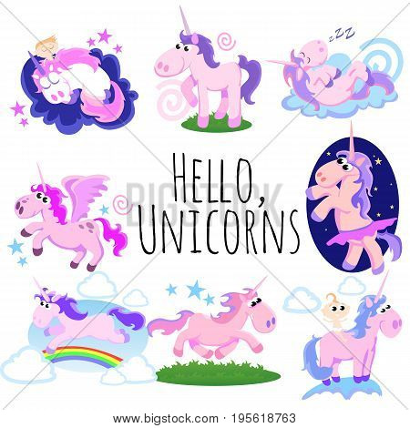 cute unicorn isolated set, magic pegasus flying with wing and horn on rainbow, fantasy horse vector illustration, myth creature dreaming on white background, greeting card template.