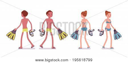 Young slim man and woman with flippers, snorkeling mask, in swimming trunks, bikini, tanned complexion, walking. Front, rear view. Vector flat style cartoon illustration, isolated, white background