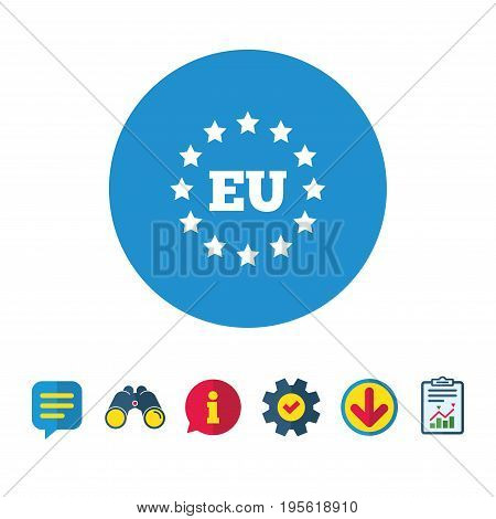 European union icon. EU stars symbol. Information, Report and Speech bubble signs. Binoculars, Service and Download icons. Vector