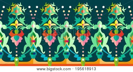 Seamless vector pattern with Gothic and Art Nouveau floral elements. Vintage textile collection.