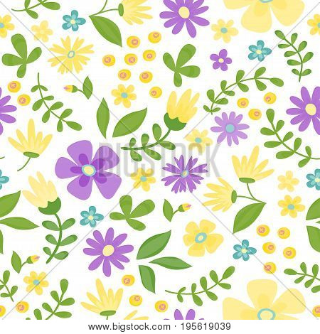 Floral seamless pattern. Cute retro flowers wreath perfect for wedding invitations and birthday cards and other holiday and cute summer background