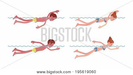 Male and female swimmer in free swimming, improving front crawl breathing technique, fitness and sport activity for pool and sea. Vector flat style cartoon illustration, isolated, white background