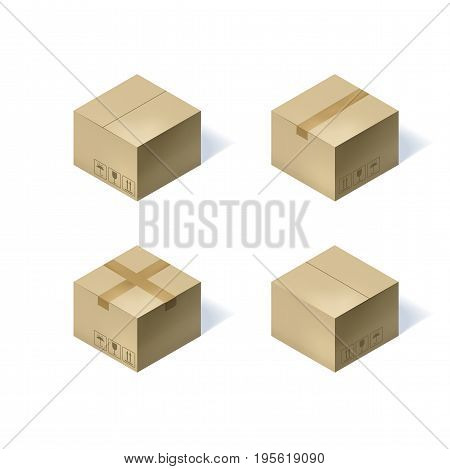 Set of four isometric cardboard boxes isolated on white background. Vector illustration