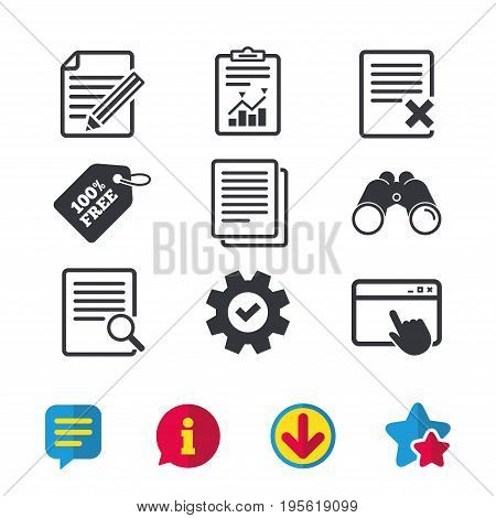 File document icons. Search or find symbol. Edit content with pencil sign. Remove or delete file. Browser window, Report and Service signs. Binoculars, Information and Download icons. Stars and Chat