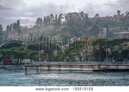 Italian Riviera Liguria Region. Mediterranean Sea Architecture. Vacation Destination.