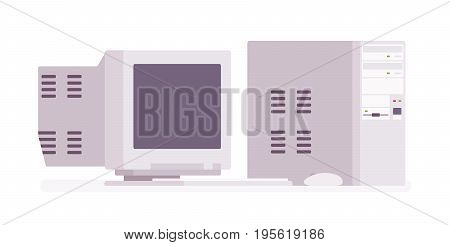 Retro personal computer, vintage model. Old classic office equipment collecting in the garage or attic. Vector flat style cartoon illustration, isolated, white background