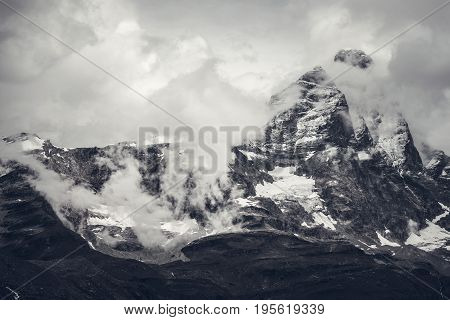 Matterhorn Mont Cervin 4478 m. Monte Rosa Area of the Pennine Alps in Italy.