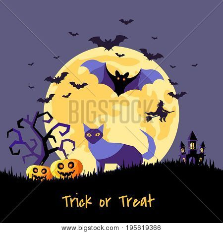 Digital vector yellow purple happy halloween icons with drawn simple line art info graphic, presentation with bats big moon, cat and pumpkin elements around promo template, flat style