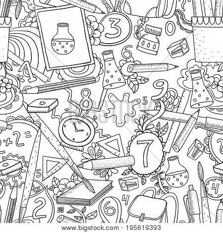 Cartoon vector doodles hand drawn school seamless pattern. Sketch vector illustration with school elements.