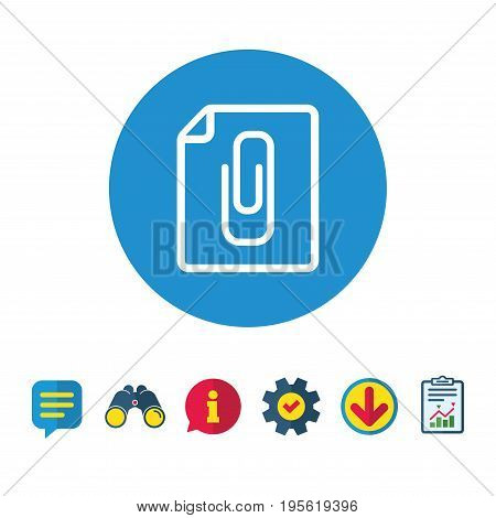 File annex icon. Paper clip symbol. Attach symbol. Information, Report and Speech bubble signs. Binoculars, Service and Download icons. Vector