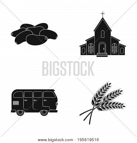 culinary, religion and other  icon in black style. transport, agriculture icons in set collection.