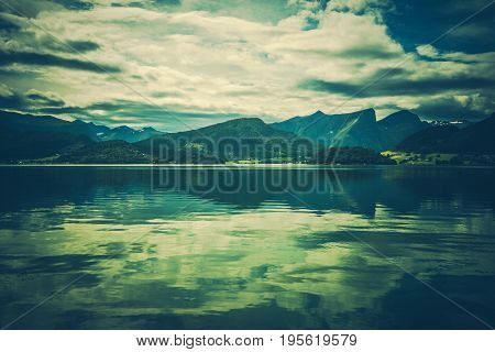 Norwegian Scenic Landscape. Western Norway Europe. Cloudy Day