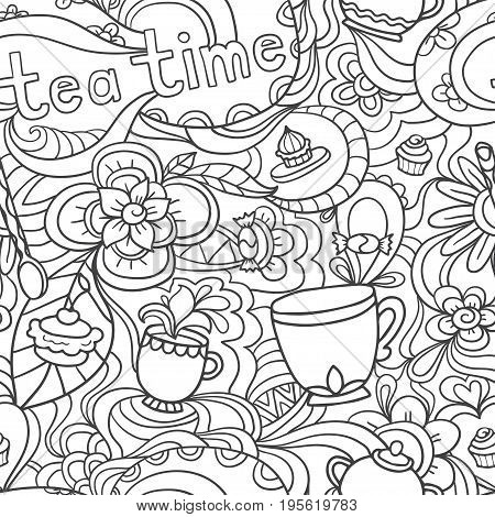 Doodle seamless pattern about coffee or tea time - coffee, tea, cupcake, cups, candy, lollipops