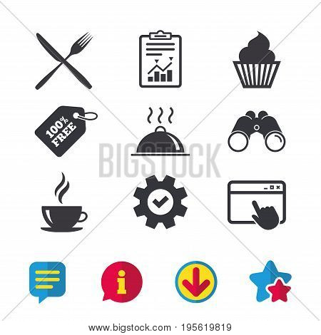 Food and drink icons. Muffin cupcake symbol. Fork and knife sign. Hot coffee cup. Food platter serving. Browser window, Report and Service signs. Binoculars, Information and Download icons. Vector