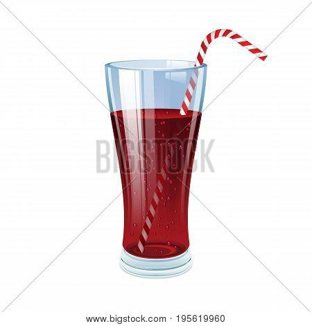 Cola glass with cocktail straw. Vector illustration.