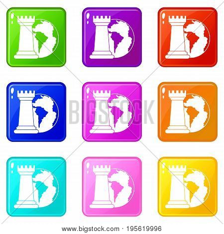 World planet and chess rook icons of 9 color set isolated vector illustration