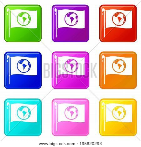 Flag with world planet icons of 9 color set isolated vector illustration