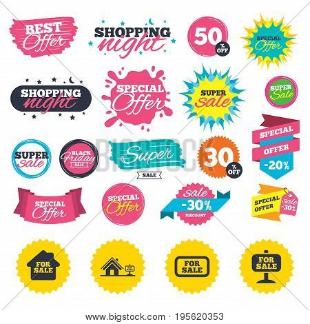 Sale shopping banners. For sale icons. Real estate selling signs. Home house symbol. Web badges, splash and stickers. Best offer. Vector