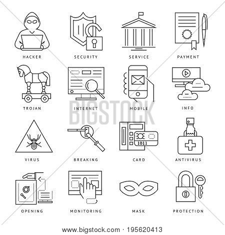 Digital vector internet security data protection icons set drawn simple line art info graphic poster, hacker user bug vulnerability mobile email trojan malware bank cloud spy intercept mask, flat