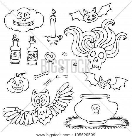 Happy Halloween set with pumpkins, ghosts, spiders. Vector cartoon elements for Halloween