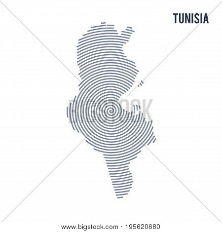Vector Abstract Hatched Map Of Tunisia With Spiral Lines Isolated On A White Background.