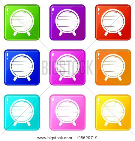Barrel on legs icons of 9 color set isolated vector illustration