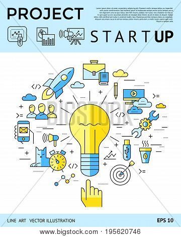 Digital vector yellow and blue startup business icons with drawn simple line art info graphic, presentation with project and team elements around promo template, flat style