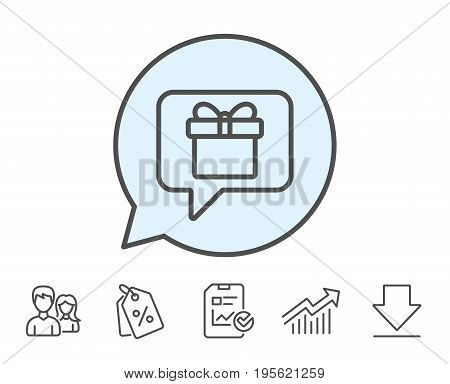 Dreaming of Gift line icon. Present box sign. Birthday Shopping symbol. Package in Gift Wrap. Report, Sale Coupons and Chart line signs. Download, Group icons. Editable stroke. Vector