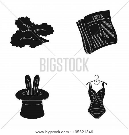 Cooking, Media and other  icon in black style.Circus, Sports icons in set collection.