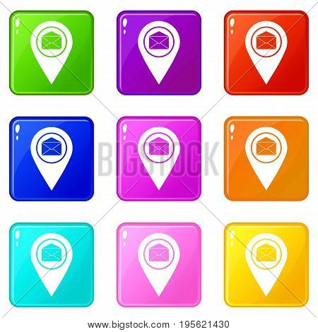 Marker location with envelope sign icons of 9 color set isolated vector illustration