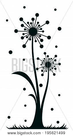 The Field stylized dandelion with flying seeds.