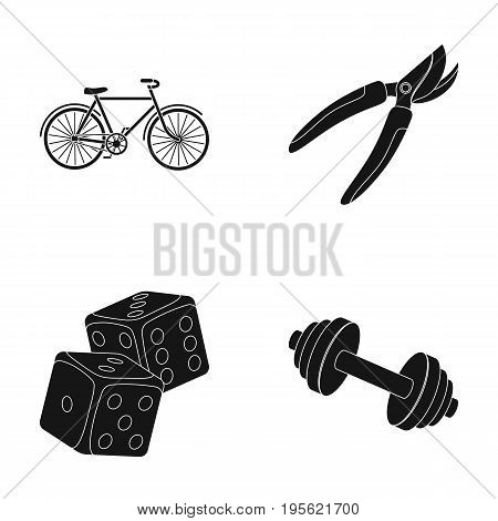 cyclist, fitness and other  icon in black style. casino, inventory icons in set collection.
