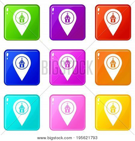 Map pointer with church, cathedral or temple sign icons of 9 color set isolated vector illustration