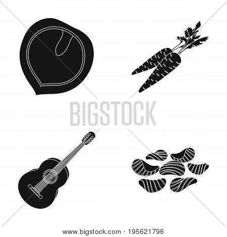 cooking, music and other  icon in black style.agriculture, pub icons in set collection.