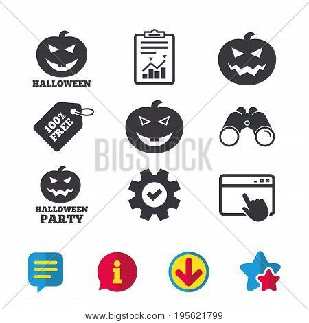 Halloween pumpkin icons. Halloween party sign symbol. All Hallows Day celebration. Browser window, Report and Service signs. Binoculars, Information and Download icons. Stars and Chat. Vector