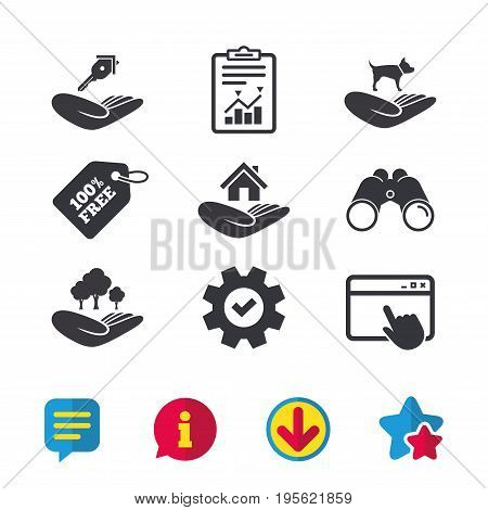 Helping hands icons. Shelter for dogs symbol. Home house or real estate and key signs. Save nature forest. Browser window, Report and Service signs. Binoculars, Information and Download icons. Vector