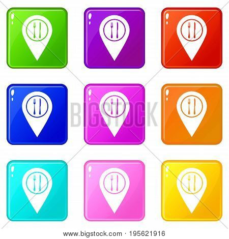 Map pin pointer with cafe or restaurant sign icons of 9 color set isolated vector illustration