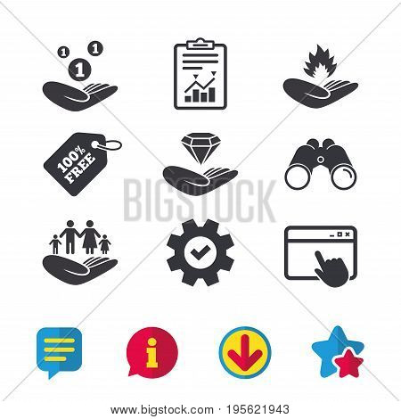 Helping hands icons. Financial money savings, family life insurance symbols. Diamond brilliant sign. Fire protection. Browser window, Report and Service signs. Vector