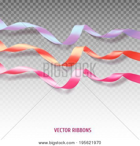 Set of three colorful ribbons on transparent background. Vector illustration