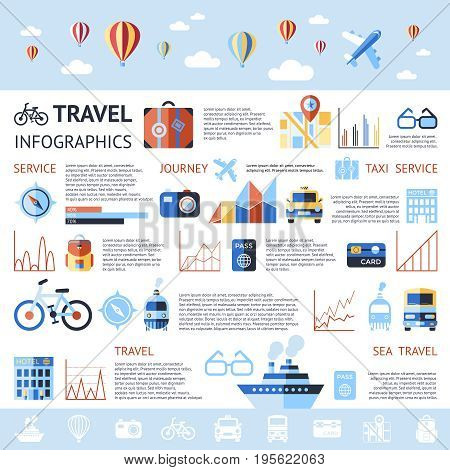 Digital vector blue summer time travel icons set with drawn simple line art info graphic poster promo, ship boat camera balloon compass air plane map globe taxi card hotel, flat style