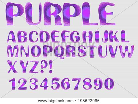 Alphabet purple mosaic texture design, uppercase letters, numbers, question and exclamation mark, vector EPS 10