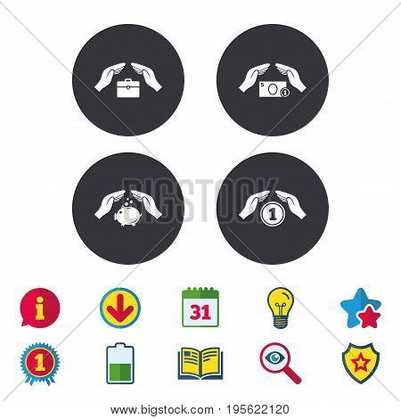 Hands insurance icons. Piggy bank moneybox symbol. Money savings insurance signs. Travel luggage and cash coin symbols. Calendar, Information and Download signs. Stars, Award and Book icons. Vector