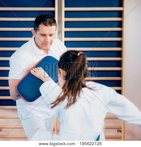 Taekwondo instructor working with child on training indoors toned image color image