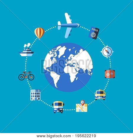 Digital vector blue travel icons set with drawn simple line art info graphic poster promo, ship boat camera balloon luggage compass air plane map globe taxi card hotel bicycle free, flat style