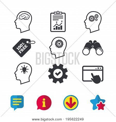 Head with brain and idea lamp bulb icons. Male human think symbols. Cogwheel gears signs. Browser window, Report and Service signs. Binoculars, Information and Download icons. Stars and Chat. Vector