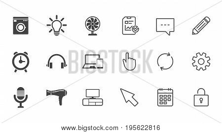 Home appliances, device icons. Ventilator sign. Hairdryer, washing machine and lamp symbols. Chat, Report and Calendar line signs. Service, Pencil and Locker icons. Click, Rotation and Cursor. Vector