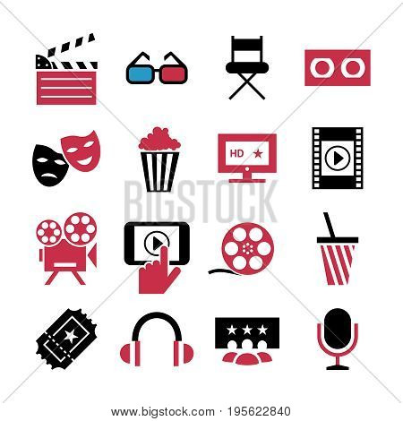 Digital vector red black 16 cinema icons with drawn simple line art info graphic, presentation with screen, movie and film elements around promo template, flat style