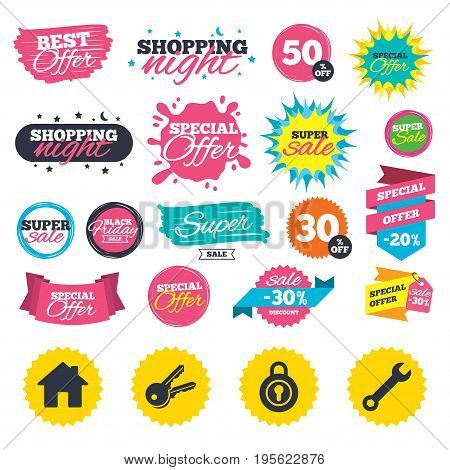 Sale shopping banners. Home key icon. Wrench service tool symbol. Locker sign. Main page web navigation. Web badges, splash and stickers. Best offer. Vector